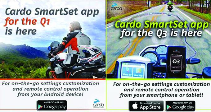 Cardo SmartSet App disponibile anche per Q1 e Q3